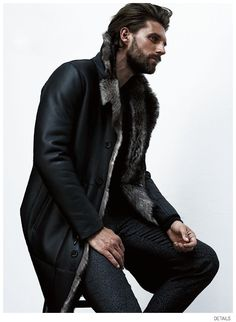 RJ Rogenski Models Fall Furs for Details September 2014 Issue is part of Mens fashion The September 2014 issue of Details puts the spotlight on fall's bold masculine furs, showcased by model RJ Ro - Fashion Moda, Fur Fashion, Style Brut, Mens Fur, Cool Style, My Style, Sharp Dressed Man, Well Dressed, Men Dress