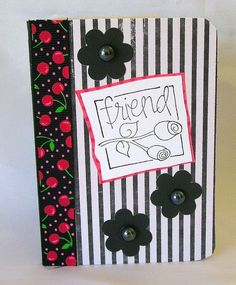 Mini note book, Pocket notebook, mini journal, Accessory, Mini notes, to-do lists, Striped chalkboard paper, Cherries, Stripes, Friend