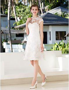 vestido de la princesa una línea de joyas de rodilla-longitud de la boda del cordón (783944) - EUR € 107.24