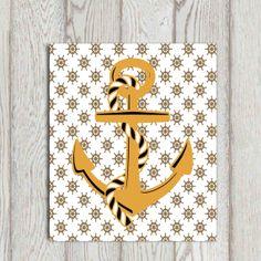 Anchor wall art print Gold anchor art Nautical decor by DorindaArt, $5.00