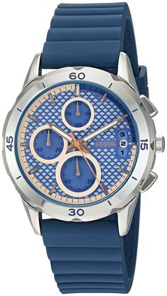 Fossil Women's ES3982 Modern Pursuit Chronograph Indigo-Dyed Silicone Watch…