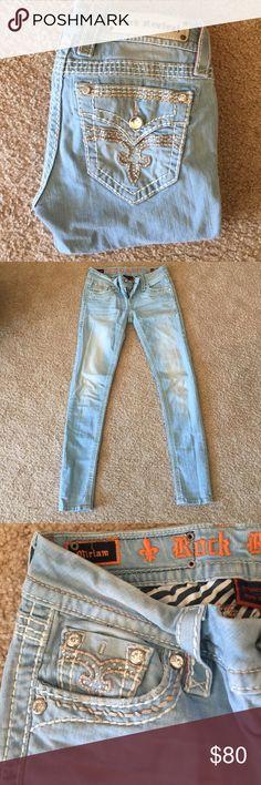 Rock Revival skinny jeans Rock Revival • Light Wash • Skinny • Like New Rock Revival Jeans Skinny