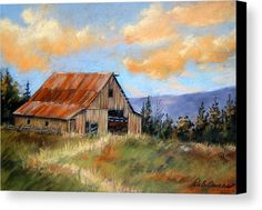 Landscape Canvas Print featuring the painting This Old Barn by Deb Owens-Lowe