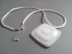 White and Clear Fused Glass Necklace by SeaLambGlass on Etsy, $19.99