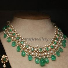 Pearls and Emerald Droplets Choker - Jewellery Designs