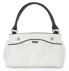 Carlie    Slip Carlie on your Classic Bag and you have the perfect companion for lunch at your favorite café or an afternoon of fun on your tropical get-away! Lightly-textured faux leather in pure snowy white features convenient end-pocket design. Sophisticated contrasting black piping and oversized stud accents make this fresh look complete.    https://purse-divas.miche.com/Shop/Product/1192
