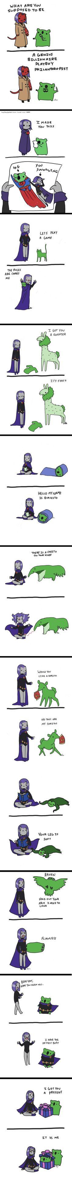 Raven & Beast Boy Part Deux. This is adorable