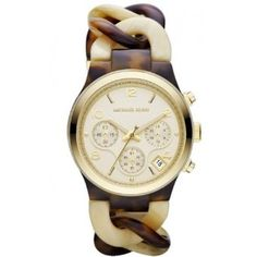 Michael Kors MK4270 triple-eye chronograph gold dial tortoise/cream horn acetate bracelet women watch NEW