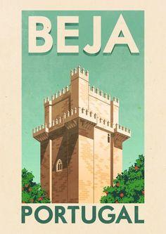 Beja, Portugal por Rui Ricardo, Beja y Arrabaldes Tourism Poster, Poster Ads, Poster Prints, Visit Portugal, Portugal Travel, Pub Vintage, Portuguese Culture, Travel Ads, Voyage Europe