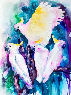 Cockatoo parrot  watercolor  painting print bird by SlaviART, $25.00