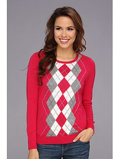 Love the red argyle jumper with jeans (I'd add a white singlet top underneath this.
