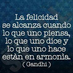 """""""La felicidad se alcanza cuando lo que uno piensa, lo que uno dice y lo que uno hace están en armonía"""". Gandi"""