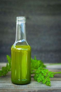 - GrønnOlje med persille og kjørvel - Green Oil with parsley and chervil Hot Sauce Bottles, Parsley, Food To Make, Oil, Green, Recipes, Recipies, Cooking Oil, Butter