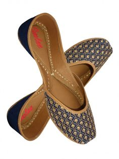Blue silk with beige thread and sequin embroidry and blue silk combination leather mojari with sole cushioning. Indian Shoes, Kurti With Jeans, Fashion Eye Glasses, Navy Shoes, Chanel Shoes, Shoe Closet, Comfortable Shoes, Designer Shoes, Fashion Shoes