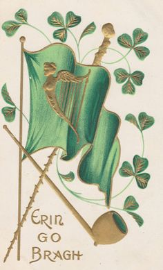 St. PATRICK'S Day Vintage Postcard, ERIN Go BRAGH, Ireland Forever, Flag, Clover, Pipe, Harp, Gilded and Embossed, Unused, 1910s, A & S by AgnesOfBohemia, $3.10
