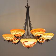 Aegis Chandelier with Bowl (7 Light)  #artglasslighting #blownglasslighting #bowlchandelier #artisanglass #multilightchandelier
