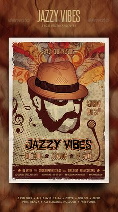 The Jazzy Vibes items will make the people wanna move. You can use them to promote an urban party, jazz concert or a karaoke event that involves lots of music and good times.