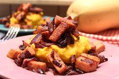 Low Carb Rezepte von Happy Carb: Low Carb Kartoffel-Kürbis-Püree mit Schlemmergeröstetem - Nicht so einfach, einen echt guten Low Carb Ersatz für ein Kartoffel-Püree zu finden.