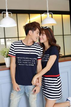 Korean Summer Embroidery Fashion Short Sleeve Striped Couple Clothing Royal Blue