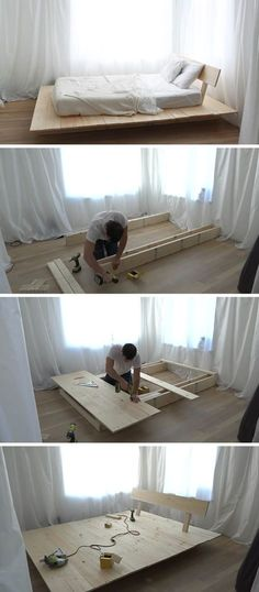 Make This DIY Modern Wood Platform Bed This tutorial for a DIY modern platform bed teaches you how to create a simple wood bed frame with easy to foll Simple Wood Bed Frame, Diy Bed Frame, Pallet Wood Bed Frame, Wood Bed Frames, Build Bed Frame, Canopy Frame, Timber Frames, Modern Platform Bed, Wood Platform Bed