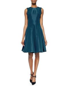 B2YWC Zac Posen Sleeveless Pleated Silk Faille Dress, Teal