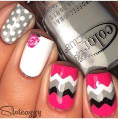 Chevron polka dot nails