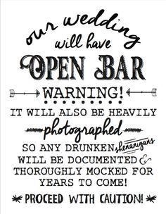 wedding open bar sign printable