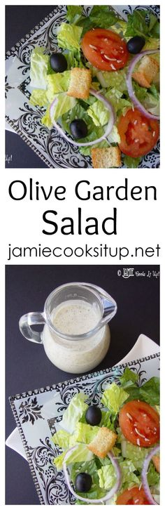 This Olive Garden Salad is one of the most popular salads on my site. Always a crowd pleaser. The homemade dressing really gives it a fabulous taste! Hope you give it a try. Olive Garden Salad, Olive Garden Recipes, Olive Recipes, Healthy Snacks, Healthy Eating, Healthy Recipes, Salad Recipes, Detox Recipes, Homemade Dressing Recipe
