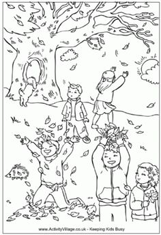 Autumn Leaves Craft coloring page template re pinned by Thriving