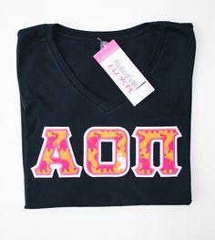 Alpha Omicron Pi Sorority Letter V-Neck Tee Monogramalamodeshop Sorority Sweatshirt