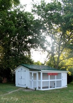 Coop and shed together:   http://keepingitcozy.blogspot.com/2013/05/the-cozy-coop.html?showComment=1369865619060#c2571215310913507923