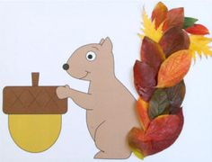 Squirrel paper craft for preschool, kindergarten and elementary school children to decorate with leaves. Autumn Leaves Craft, Autumn Crafts, Fall Crafts For Kids, Autumn Art, Toddler Crafts, Kids Crafts, Art For Kids, Leaf Crafts, Tree Crafts