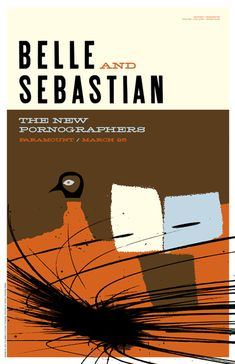 Concert Poster - New Pornographers, The - Belle And Sebastian Patent Pending Design Concert poster / gig poster / music / show poster / illustration / screen print / graphic design