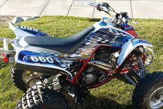 Raptor 660 graphics Yamaha 660R ATV custom sticker kit #2500 Blue #Allmotorgraphics