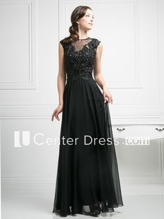 A-Line Scoop-Neck Sleeveless Chiffon Illusion Dress With Appliques