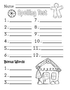 Free September Spelling Test Paper  I Love This Because While