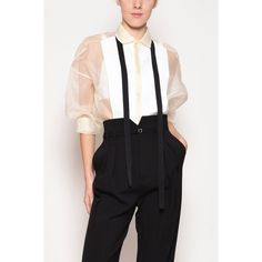 REDVALENTINO Organza Silk Oversize Smoking Shirt ($395) ❤ liked on Polyvore featuring tops, oversized tops, organza top, oversized shirt, organza shirt and red valentino top