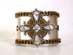 Celtic Cross Gothic Cuff Bracelet   Swarovski by LeBoudoirNoir, $135.00