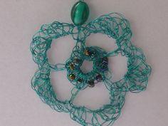 Teal Flower Pendant by crochetclare on Etsy, £13.50
