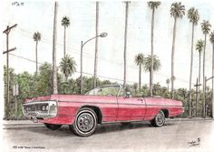 1970 Dodge Polara Convertible - drawings and paintings by Stephen Wiltshire MBE