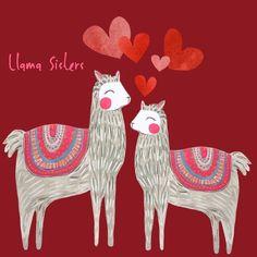Llama sisters inspired by my two daughters. Alpacas, Baby Llama, Cute Llama, Llama Drawing, Llama Face, Alpaca My Bags, Llama Alpaca, Animal Paintings, My Animal