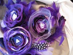Jilliann's Deep  PURPLEand LAVENDER FEATHER Bouquet by JILLIANNS