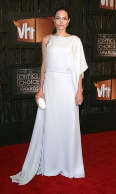 Angelina Jolie Looks Statuesque In A Maz Azria One Shoulder Dress At The Critics' Choice Awards, January 2009