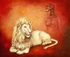 Sacred white lion and Shaman lion - Oil painting handpainted, 50 x 60 cm, ORIGINAL sold! As art print at different sizes by http://www.fineartprint.de/index2.php?page=image_preview1.php&image=11026873&own=1&produkt_id=artist&typ_id=2&view=1 http://www.posterlounge.de/heiliger-weisser-loewe-und-loewenschamanin-oelgemaelde-pr349457.html