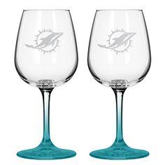 New! 12Oz Nfl/Dolphins 2Pk Wine #MiamiDolphins