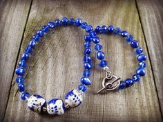 SALE Owls Charm Necklace Beaded Necklace Cobalt Blue by MysticGemz