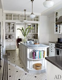 white kitchen, black and white tile floor, Gomez Associates, Michael J. Fox and Tracy Pollan's Manhattan Home | Architectural Digest