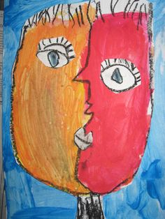 """You may have noticed that I love to do different versions of cubist self portraits or """"Picasso faces."""" What a treat it was t..."""