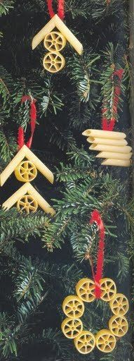 Pasta Christmas Tree Ornaments Craft For Kids