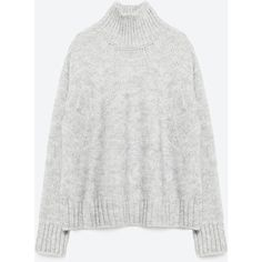 Zara Sweater With Turtle Neck ($40) ❤ liked on Polyvore featuring tops, sweaters, light grey, zara top, turtle neck sweater, turtle neck tops, zara sweaters and turtleneck sweater